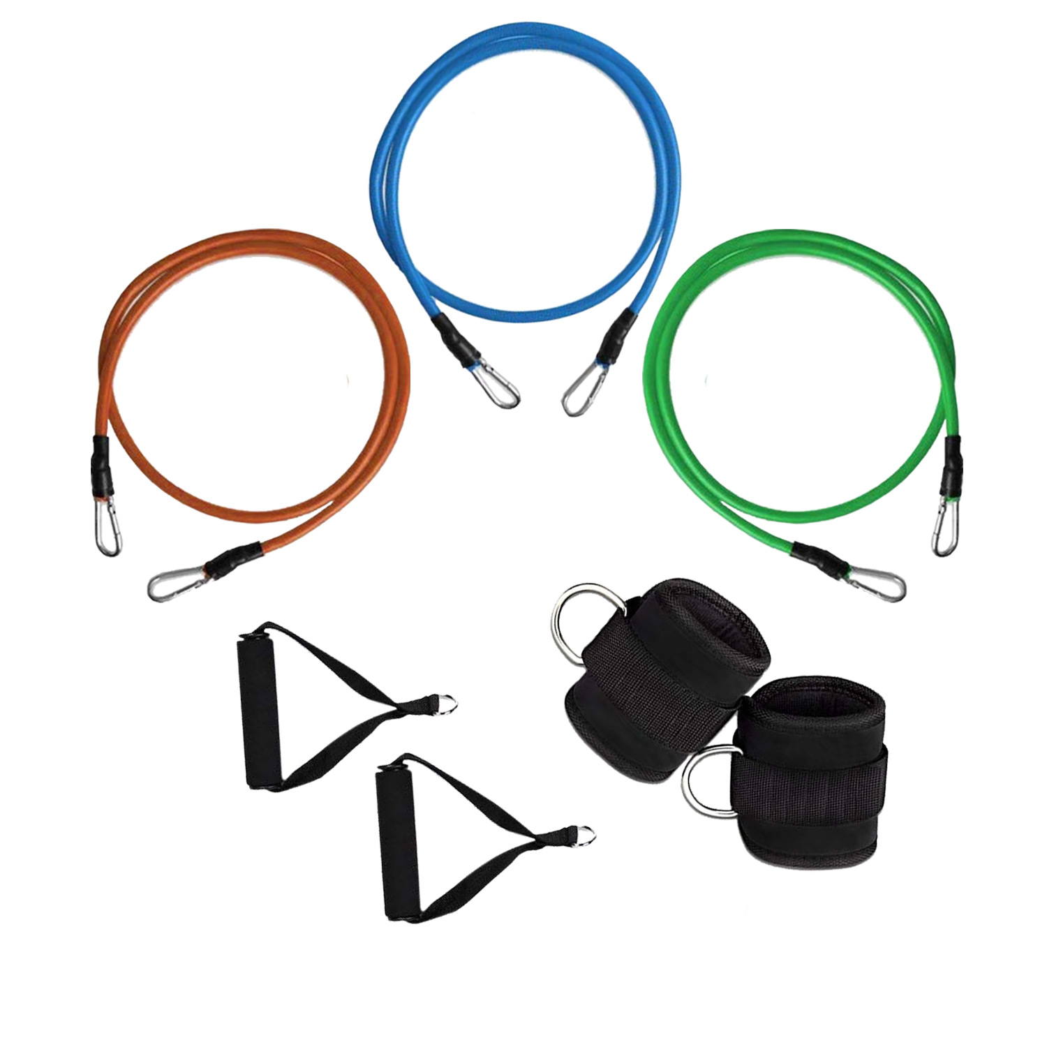 Set Di 3 Fasce Bande Elastici Resistenti In Lattice Con Maniglie Fitness Yoga.