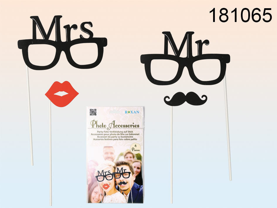 Set 4 Pezzi Photobooth Mr & Mrs Sposo Sposa Matrimonio Wedding Accessori.