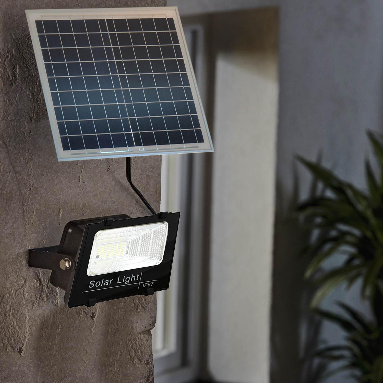 Faro led smd 60W con pannello solare crepuscolare telecomando esterno XJ8860