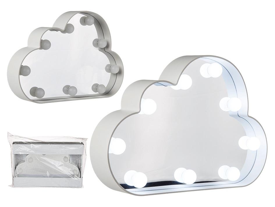 Specchio bianco a forma di nuvola in plastica con 10 led - Specchio di plastica ...