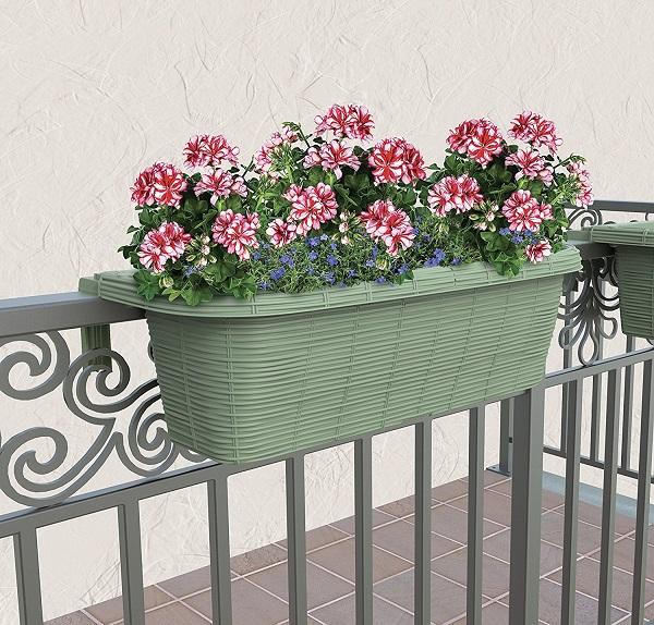 Fioriere In Plastica Per Balconi.Fioriera Balcone Balconiere 60cm In Plastica Regolabile Rondine Salvia Paglia Lgv Shopping
