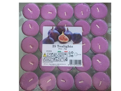 25 Candele Candela Tea Light Profumate Profumazione Fico Essenze Naturali .