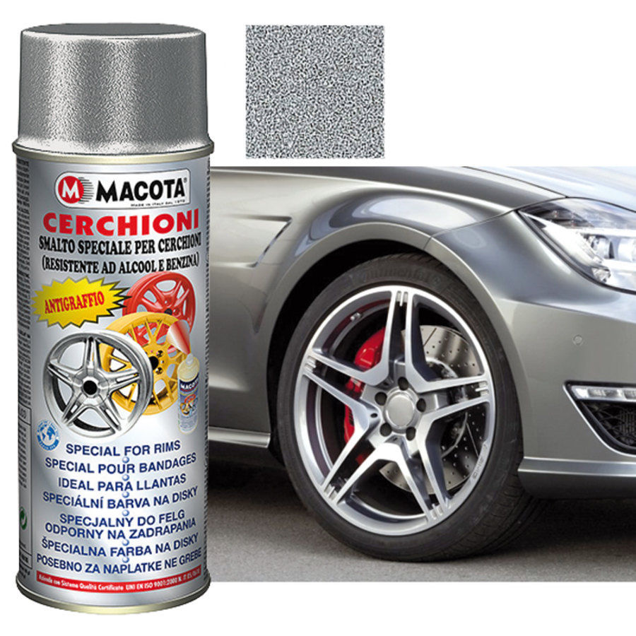 Macota Smalto Speciale Cerchioni Spray 400ML Tuning Argento Metallizzato.