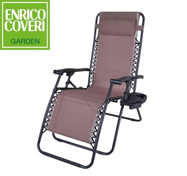 Sedie Sdraio Alluminio Con Poggiapiedi.Sedia Sdraio Relax Reclinabile Marrone Con Poggiapiedi E