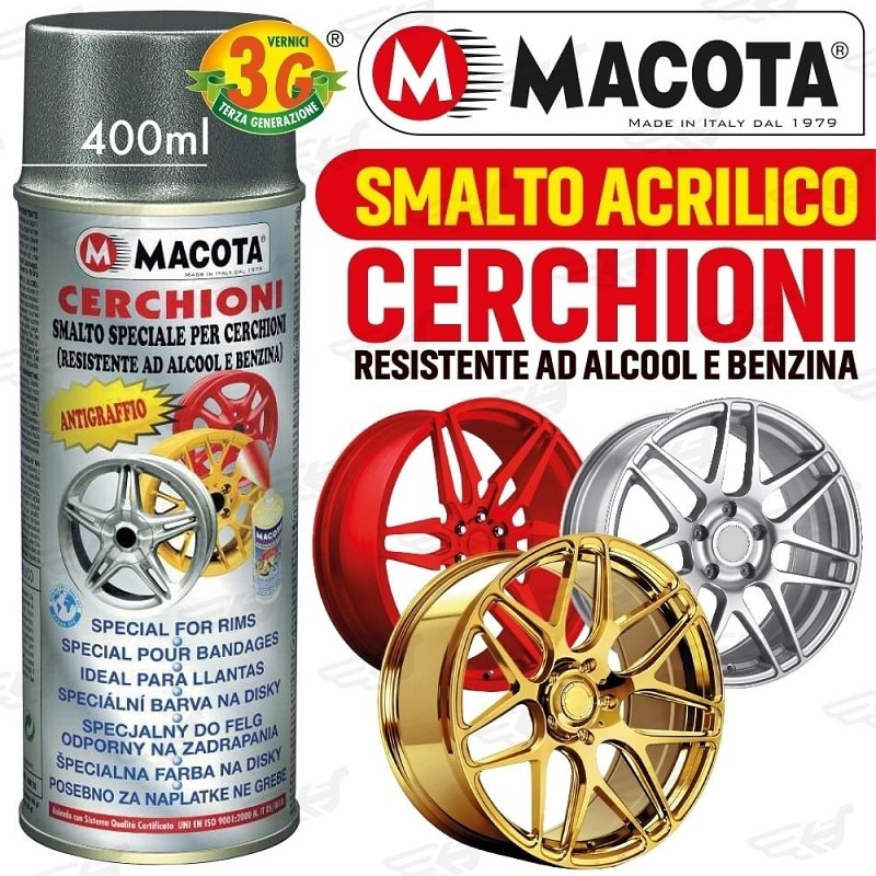 Macota Smalto Speciale Cerchioni Vernice Spray 400ML Tuning Bianco Metallizzato.