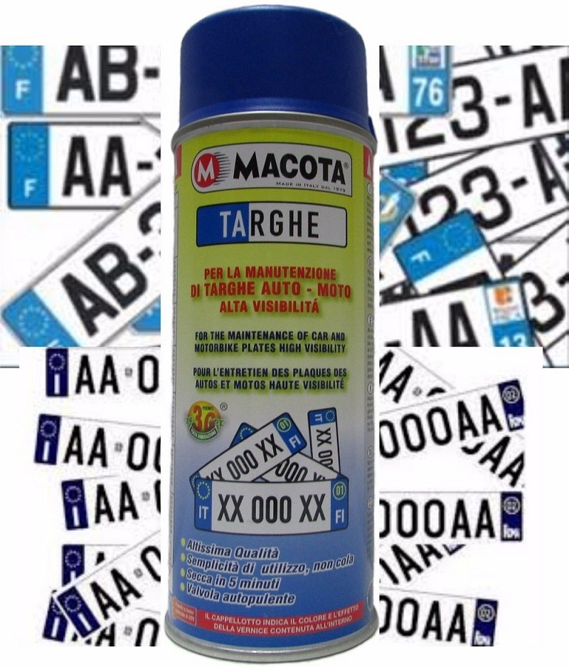 MACOTA Blu Targhe Vernice Spray 400ml Pittura Tuning Targa Auto Colore Blu.
