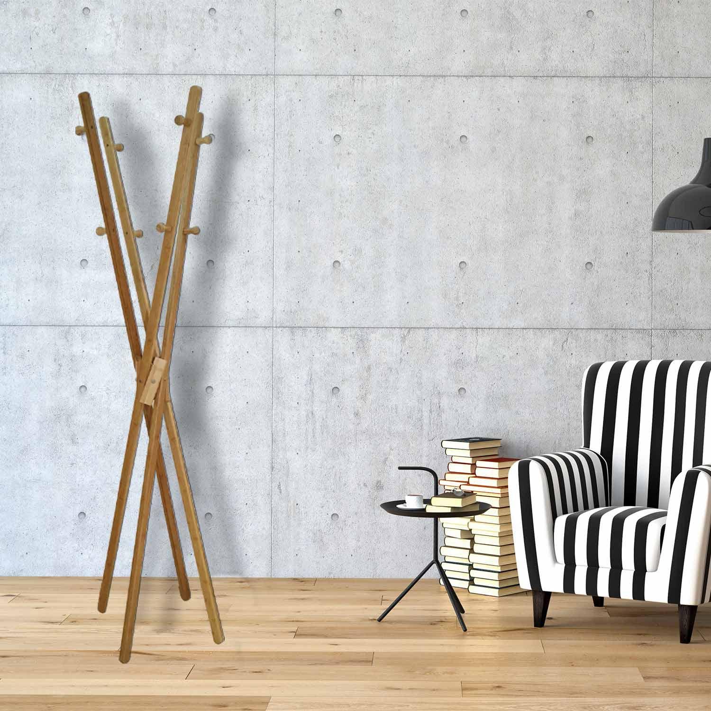 Attaccapanni Design Da Terra.Appendiabiti Da Terra Design Legno 8 Ganci Lgv Shopping