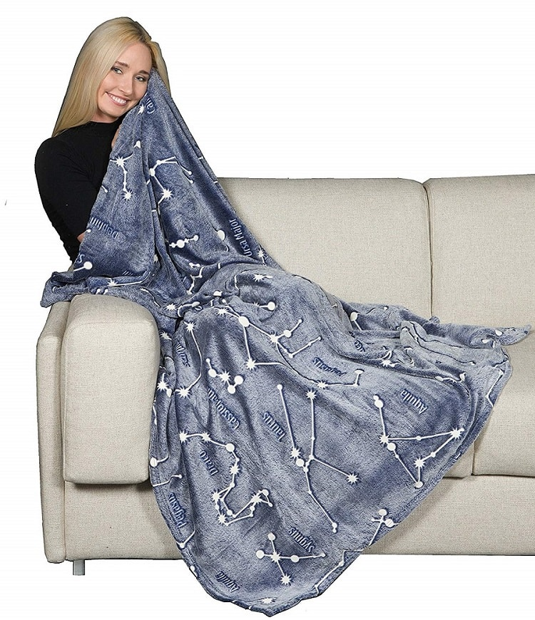 Plaid Glow Constellations Coperta In Morbido Pile Risplende Di Notte 130x150.
