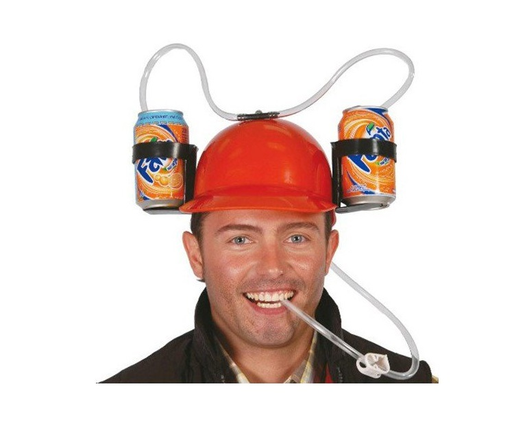 Casco Cappello Elmetto Per Bibite Per Feste Party Porta Lattine Con Visiera.