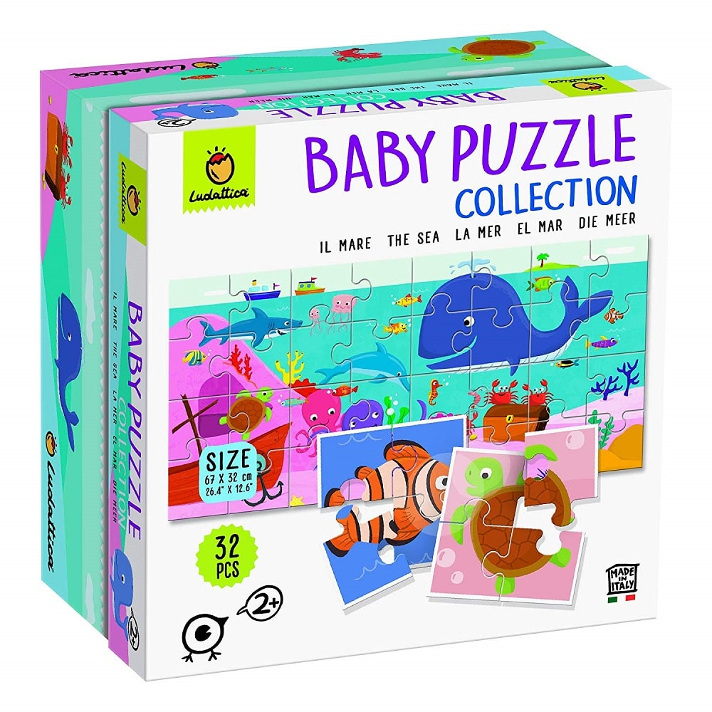 Ludattica Baby Puzzle Collection il Mare The Sea 32 PCS 67 x 32 cm Made in Italy.