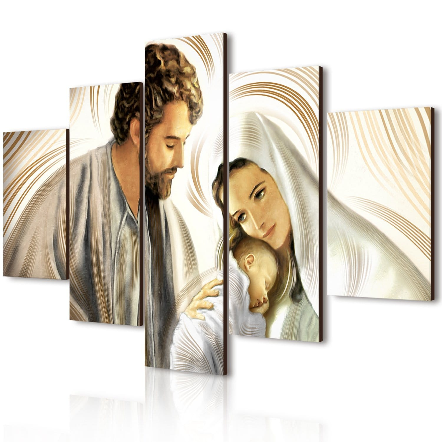 Quadro Moderno 5 Pezzi In Legno Vogue 66x115 Cm Nativity Brown.