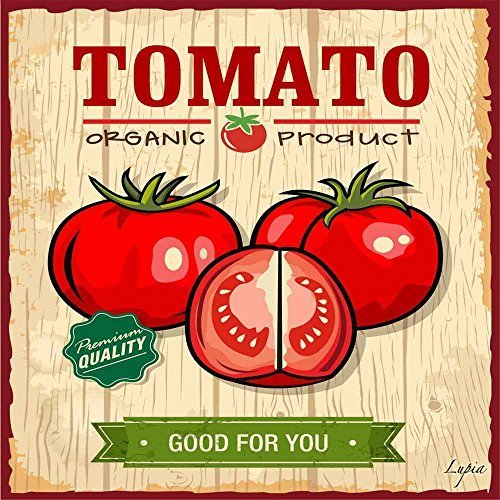 Food Vintage Quadro In LegnoSu Tela Tomato Organic Product 40x40x2 cm Lupia.