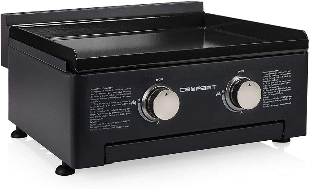 Campart Piastra di cottura a gas Barbecue in Ghisa 54 x 41.6 Nero 2 Bruciatori.