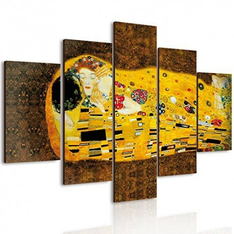 Lupia Vogue Quadro Multipannello Il Bacio di Klimt in Legno Multicolore 66x115cm.