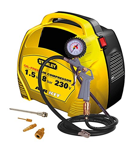 Compressore Compatto Portatile Stanley AIR KIT 1,5 HP Oilless + Kit Gonfiaggio.
