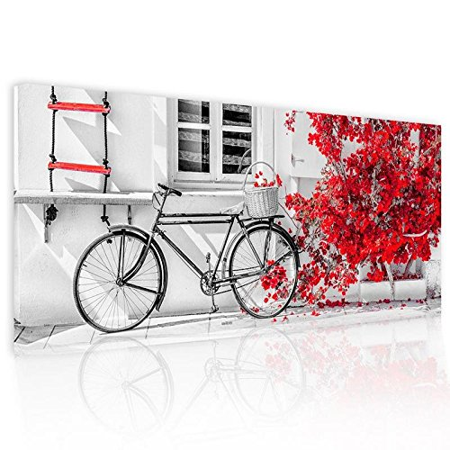 Dipinto Astratto Su Tela Pictures Bike Bouganville Red 52x122cm.