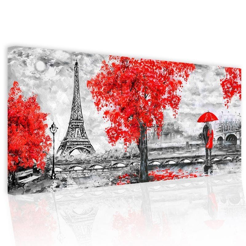 Dipinto Astratto Su Tela Pictures Amour A Paris 52x122 cm.