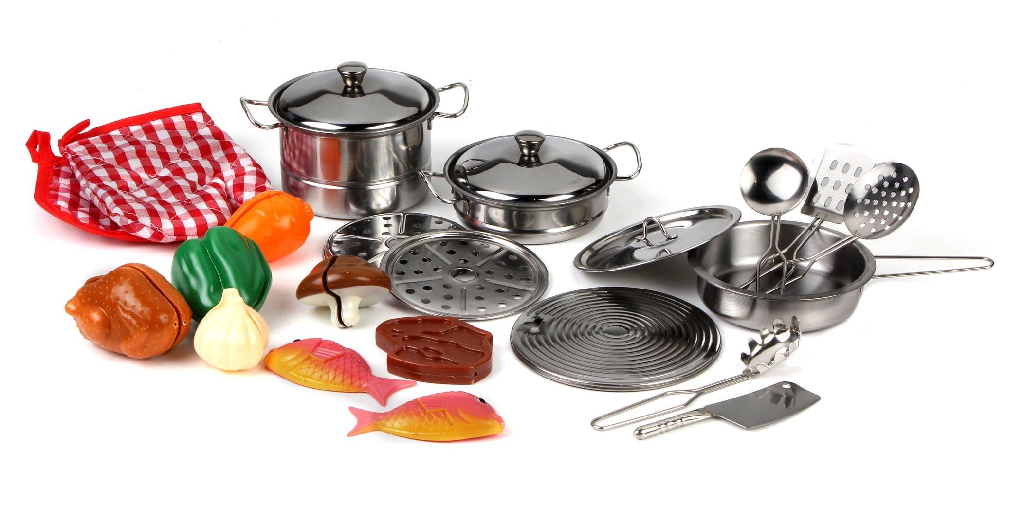 ecba6d41a9 Set Cucina Giocattoli Per Bambini In Metallo 23pz Con Pentole ...