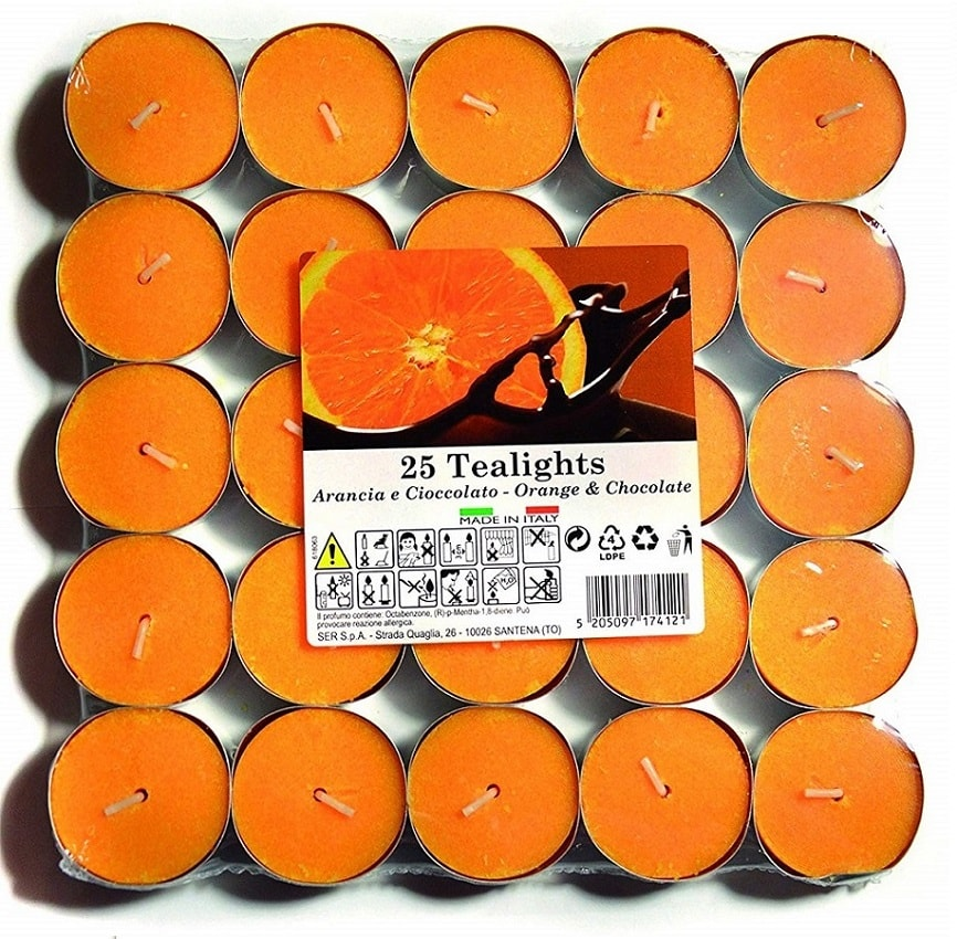 25 Candele Profumate Essenze Naturali Tea Light Profumo Arancia e Cioccolato.