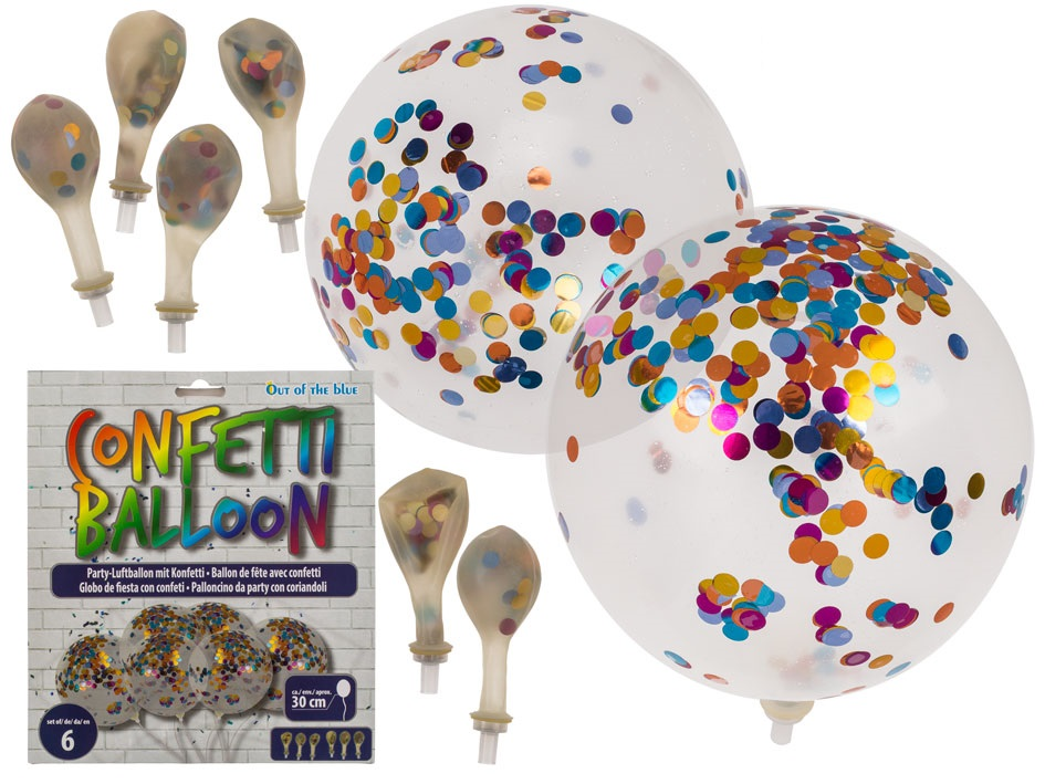 Set da 6 Palloncini 30cm Per Feste da Party Be Happy Con Coriandoli Interni.
