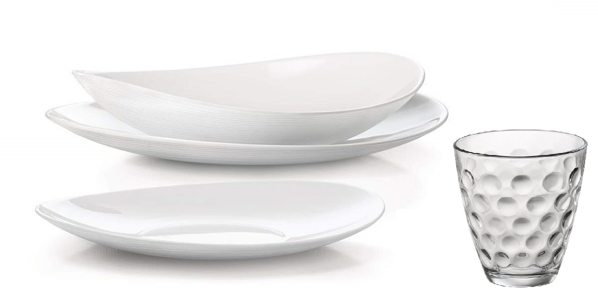 Servizio Piatti 12 Persone.Servizio Piatti Prometeo Bianco Per 12 Persone Con Bicchieri Lgv Shopping