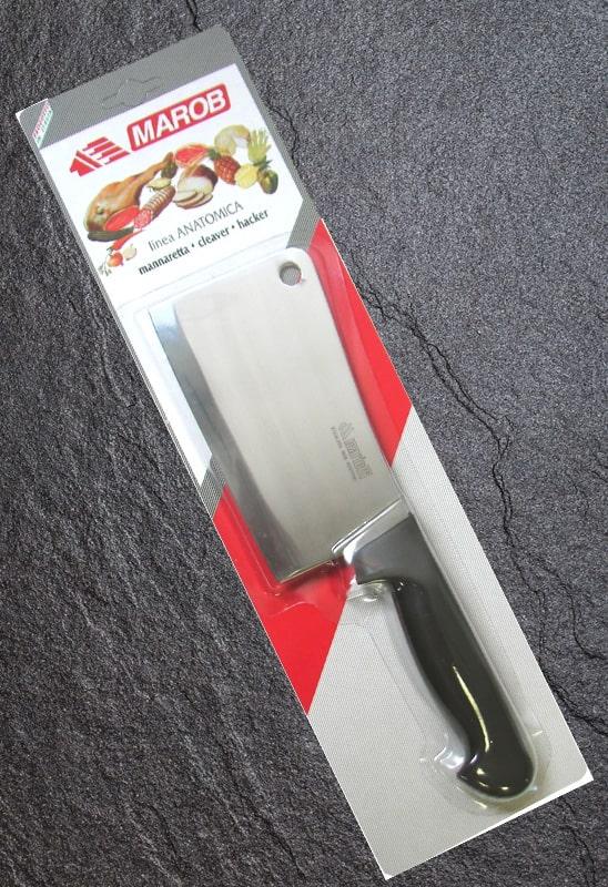 6 Pezzi Manaretta Liscia Modello Bistrot Mannaia in Acciaio Inox Lama da 75mm