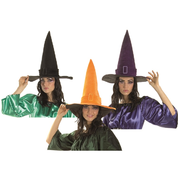 Cappello Strega In Velluto Viola Halloween Festa Party Scherzo Costume.